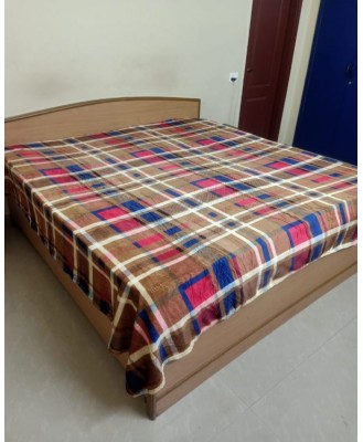 Warm Flannels Bedsheet without Pillow STD Size (Checks)