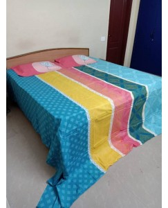 Portico Escape Super King Size Cotton Double Bedsheet with 2 Pillow Covers
