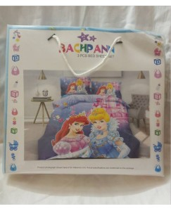 BACHPAN Kids 3D Printed Barbie Princess Bed Sheet + 2 Pillow Covers - Queen Size