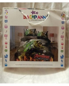 BACHPAN Kids 3D Printed Avengers Hulk Superhero Cartoon Bed Sheet + 2 Pillow Covers - Queen Size