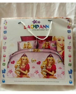 BACHPAN Kids 3D Printed Barbie Princess Cartoon Bed Sheet + 2 Pillow Covers