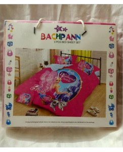 BACHPAN Kids 3D Printed Barbie and The Diamond Castle Princess Cartoon Bed Sheet + 2 Pillow Covers - Queen Size