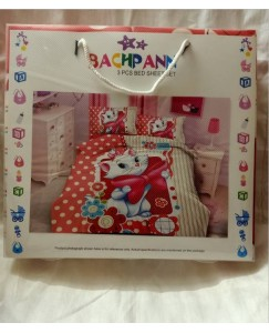 BACHPAN Kids 3D Printed Barbie Cat Cartoon Bed Sheet + 2 Pillow Covers - Queen Size