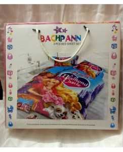 BACHPAN Kids 3D Printed Barbie and The Diamond Castle Princess Cartoon Bed Sheet