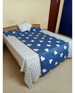 Premium 5 Piece Set - Pure Cotton Bedsheet with Cushion and Pillow Covers