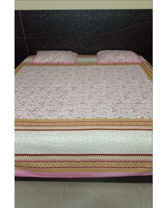 Jaipuri king Size Pure Cotton Double Bedsheet with 2 Pillow Covers