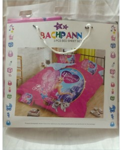 BACHPAN Kids 3D Printed Barbie Diamond Castle Bed Sheet + 2 Pillow Covers - Queen Size