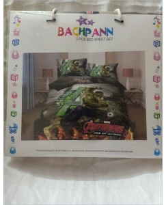 BACHPAN Kids 3D Printed Avengers Bed Sheet + 2 Pillow Covers - Queen Size