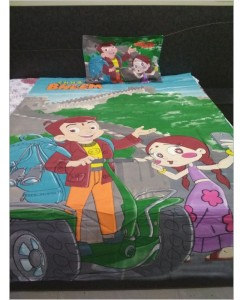 Disney Single Bedsheet with 1 Pillow Cover, Cartoon Print -  Chhota Bheem and Chutki
