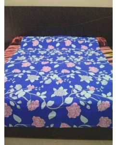Single Bed Glace Cotton Bedsheet with 1 Pillow Cover (Blue Flowerish)