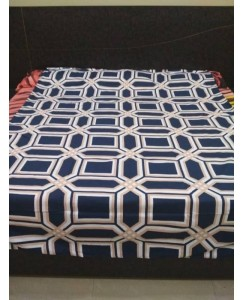 Single Bed Glace Cotton Bedsheet with 1 Pillow Cover (Dark Blue)