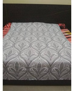 Single Bed Glace Cotton Bedsheet with 1 Pillow Cover (Designer - Light Grey)